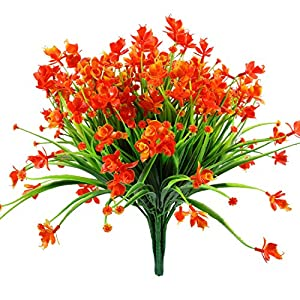 Fake Bouquet,Artificial Daffodils Fake Flowers,4 Bundles Yellow UV Resistant Faux Greenery Foliage Plants Shrubs for Garden,Outdoor Hanging Planter Home Garden Wedding Decor