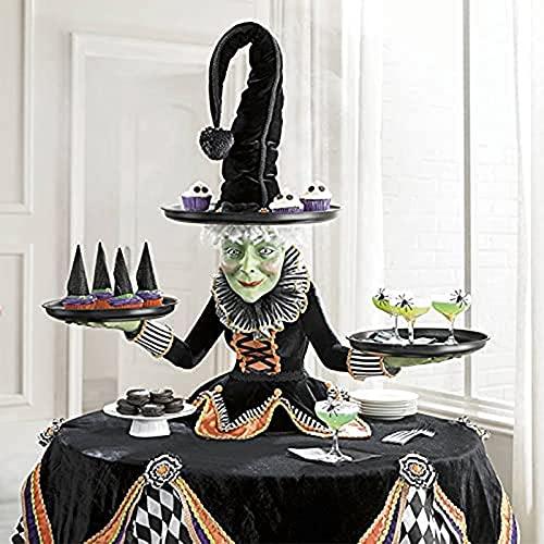 Yacriso Pantalla de Soporte de Mesa de Bruja Halloween, Servidor de Mesa de Bruja Espeluznante, Manualidades de Resina, Servidor de Mesa de Bruja con Mantel de arlequín para Fiesta en casa