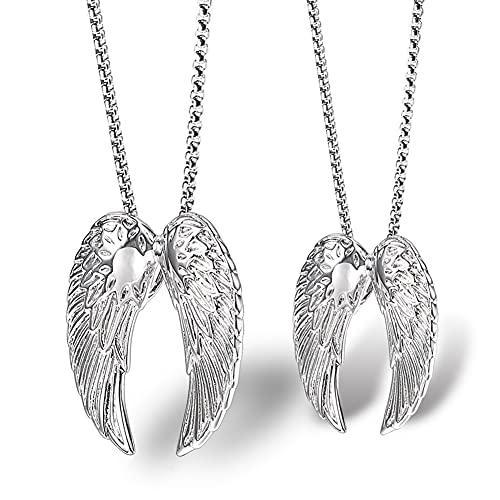 Serired 2 Piezas 316L Acero Inoxidable Angel Wings Pareja Collar, Hombre Mujer/Ángel y Demonio Colgante, Mejor Regalo de Cumpleaños de Navidad San Valentín