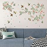 Flores y Pájaro Pegatinas de pared vinilo adhesivo decorativo para las niñas habitación de niño Wall Stickers salón Armario dormitorio TV fondo Inicio, Sencillo Vida