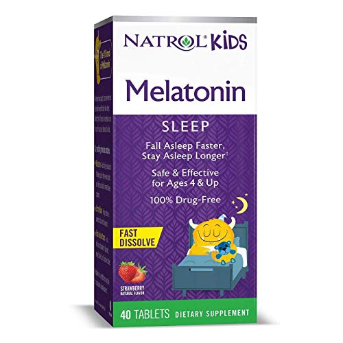 Natrol Kids Melatonin Fast Dissolve Tablets, Helps You Fall Asleep Faster, Stay Asleep Longer, Easy to Take, Dissolves in Mouth, for Ages 4 & Up, Strawberry Flavor, 1mg, 40 Count