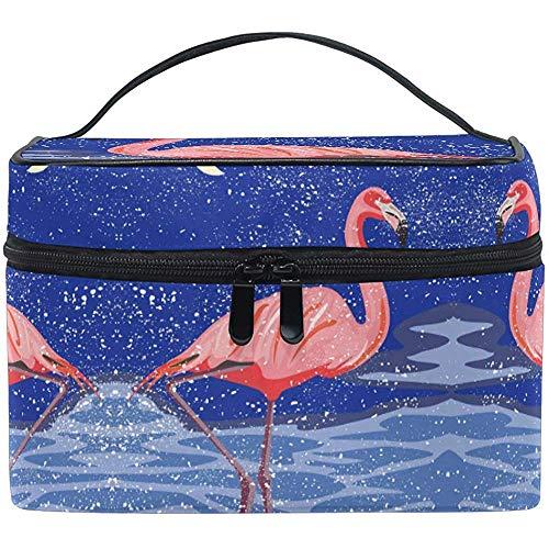 Sac cosmétique de Voyage Rose Flamingo Organisateur de Rangement pour Sac de Brosse cosmétique de Voyage Grand pour Filles Femmes