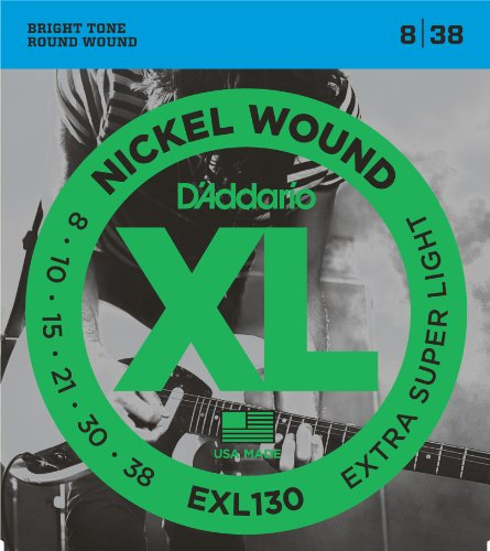 D'Addario nikkel wond elektrische gitaar snaren 1 exemplaar Extra-Super Light, 8-38 Extra-Super Light | EXL130