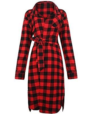 Stjubileens Women's Long Sleeve Checkered Plaid Button Down Shirt Dress with Belt
