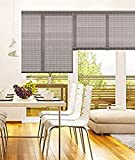 MADECOSTORE - Estor Enrollable de bambú, Color Gris – 63 x 180 cm – Fijación con Agujeros –...