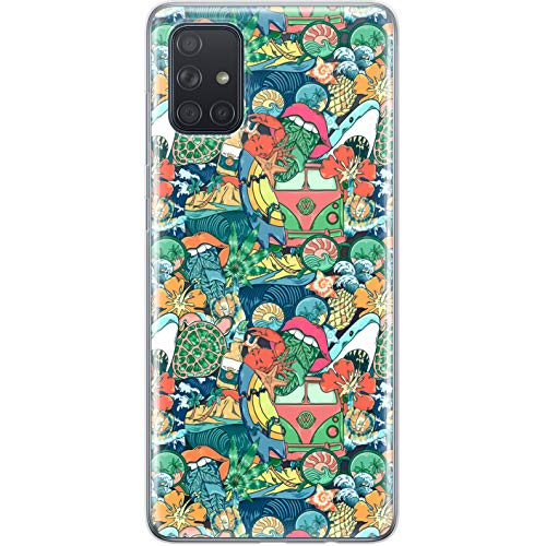 Lex Altern Case Compatible with Samsung Galaxy A72 A71 5G A70 A51 A50 A20 A11 A01 Cool Silicone Hawaii Surfing TPU Lightweight Clear Slim Gel Protective Shark Summer Weed Cover Tropical phh080