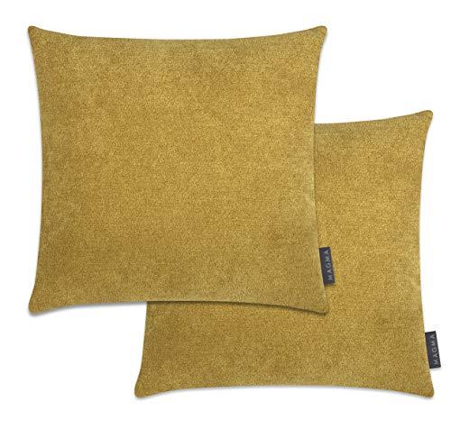 MAGMA - Federa per cuscino Alfa (set da 2 pezzi) in velluto morbido (40 x 40 cm, senape)