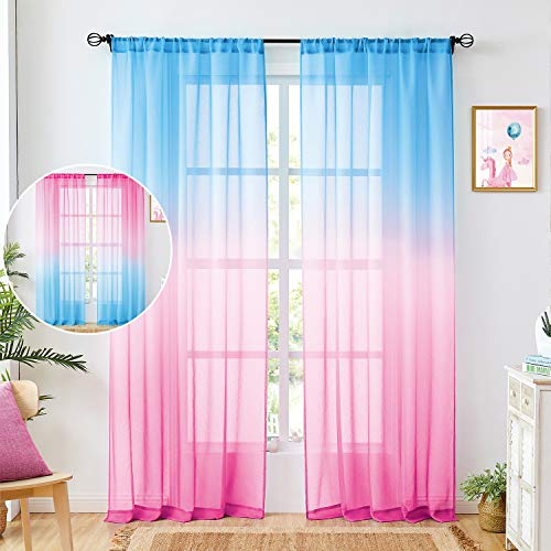 Faux Linen Ombre Sheer Curtains Baby Pink & Baby Blue 2 Tone Reversible Rod Pocket for Bedroom Living Room,Privacy and Light Filtering Semi Sheer Gradient Window Curtain Pair, Set of 2 Panels