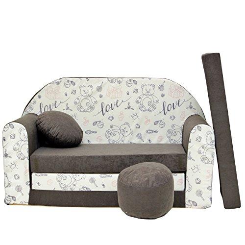 A47bambini Sofa Divano Letto Divano Sofa Mini Couch 3in 1Baby Set + sedia per bambini e cuscino + MATERASSO Grigio Teddy