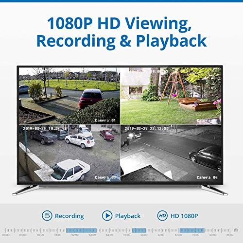 Cámara de Seguridad Sistema de cámara PoE CCTV PoE de 8CH 1080P y cámara de Bala al Aire Libre 4pcs 2.0MP con micrófono Bulid-in, IP66 a Prueba de Intemperie, día/Noche, Alerta por Correo electrónic