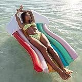 YF-SURINA Inflable Flotante Fila Nube Arco Iris Diseño Piscina Salón de aire Diseñador Moda con cojín Asiento trasero Silla Lilo Tumbona