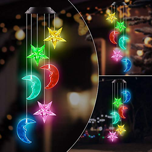 AceList Changing Color Stars and Ramadan Moon Wind Chime, Spiral Spinner Windchime Portable Outdoor Decorative Romantic Windbell Light for Patio, Deck, Yard, Garden, Home, Pathway