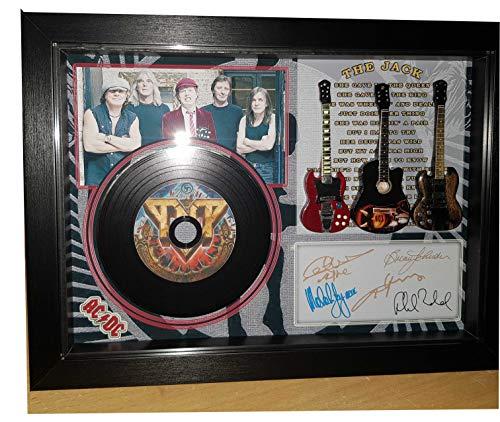 SGH SERVICES Nuevo! Guitarras en Miniatura y Mini LP ACDC The Jack en una Caja de Sombra firmada tamaño A4 firmada autografiada Miniatura Guitarra y Mini Vinilo, LP Enmarcado