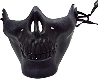 Skull Skeleton Mask Half Face Skeleton Mask for Halloween, Hunting Game, CS, Costume Party, Masquerade - Black