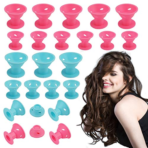 Rizadores de pelo de silicona suaves para el cabello, rizadores de pelo no calientes, herramientas de peinado para bricolaje (40 unidades, 2 tamaños)