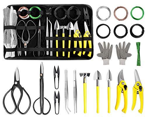 MOSFiATA Bonsai Tools Set,19-teilig, Scheren-Set aus Scherenschneider aus Kohlenstoffstahl, Set mit Gartenschere, Gartenhandschuhen, Trainingsdraht, Gartenpflanzenwerkzeugen mit PU-Ledertasche