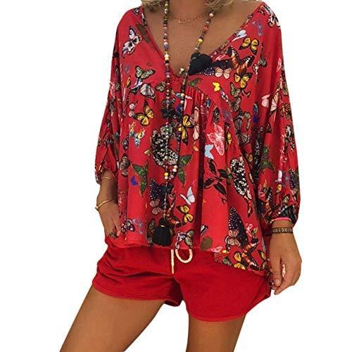 Huaheng Dames oversized top boho vlinder blouse V-hals lange mouwen vrije tijd hemd 2XL rood
