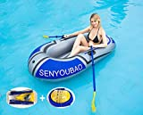 Inflatable Kayak Set Fishing Boat Drifting Diving Rowing Air Boat with Oars for Kids Adults Blue 2 Person
