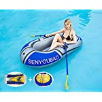 Inflatable kayak set fishing boat drifting diving rowing air boat with oars for kids adults 8 the inflatable boat can hold up to 90kg/198lb, suitable for 1-2 person, the float pool boat is made of thick pvc material, skin-friendly and durable the touring kayaks set package with paddles and a simple air pump(not electric), comfortable for you to sit inflatable dinghy boat is made of premium pvc material, which is stable and pressure resistance. The inflatable boat can be folded, easy to carry and storage