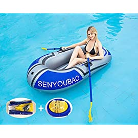 Inflatable Kayak Set Fishing Boat Drifting Diving Rowing Air Boat with Oars for Kids Adults 1 The inflatable boat can hold up to 150kg/330lb, suitable for 1 person, the float pool boat is made of thick PVC material, skin-friendly and durable The touring kayaks set package with paddles Inflatable dinghy boat is made of premium PVC material, which is stable and pressure resistance. The inflatable boat can be folded, easy to carry and storage