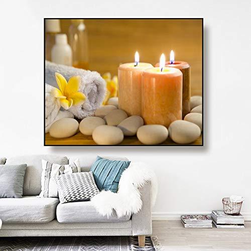 ganlanshu Arte de la Lona Vela y Toalla de baño, Imagen de póster de Piedra decoración de la Pared Regalo de la Sala de Estar del hogar Moderno,Pintura sin Marco,40x50cm