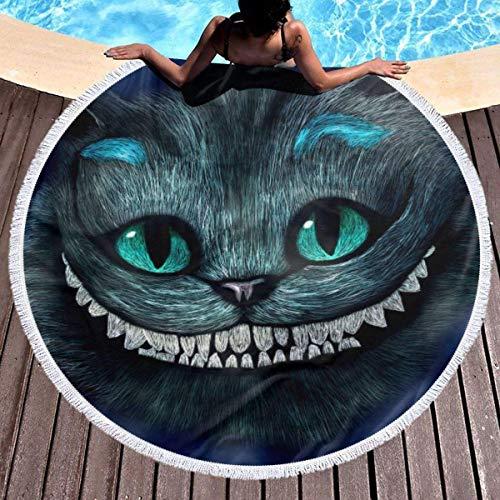 eneric Toalla de playa redonda de Alicia en el país de las maravillas, con borlas de Cheshire Cat, suave y grande, de microfibra, para picnic, yoga, playa, decoración de habitación infantil