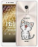 Sunrive Für Alcatel 3C Hülle Silikon, Transparent Handyhülle Schutzhülle Etui Hülle für Alcatel 3C(TPU Katze 2)+Gratis Universal Eingabestift