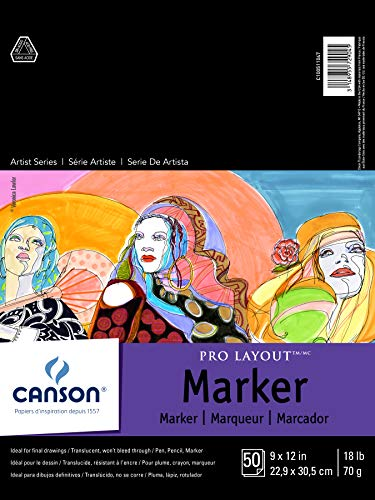 Canson Artist Series Pro Layout Marker Pad, Semi-Translucent for Pen, Pencil and Marker, Fold Over, 18 Pound, 9 x 12 Inch, White, 50 Sheets