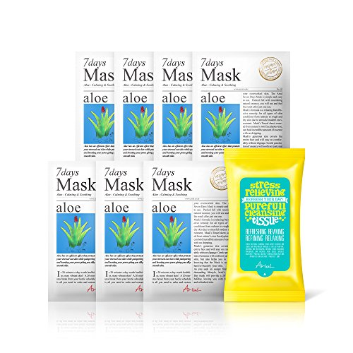 Ariul Natural Aloe Sheet Mask Pack for Acne, Calming & Soothing, 7 Days Mask Set Aloe Multipack (7 Mask + 15 Wipes) Premium 7 Day Skincare Therapy to Treat Sunburn, Reduce Acne & Blemish