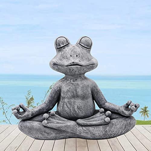 Goodeco Meditierender Frosch Statue Gartenfigur Buddha Zen Yoga Frosch Gartenfigur Indoor Home Gartenzwerg Skulptur für Haus, Terrasse, Deck, Hofdekoration, 32,5 cm, Polyresin, graue Steinoptik