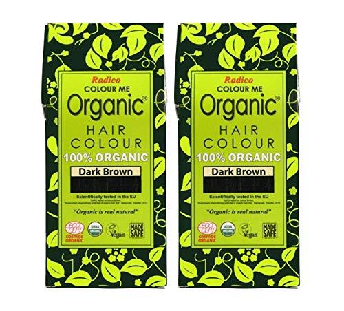 Radico Dunkelbraun 2er-Pack Colour Me Organic Pflanzenhaarfarbe (bio, vegan, Naturkosmetik) dunkelbx2