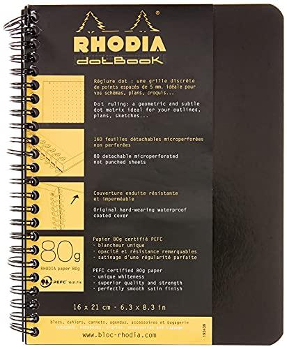Clairefontaine para Classic cuaderno de espiral 160páginas Dot de puntos 16x 21cm 80G Negro