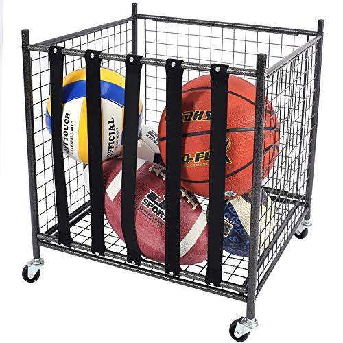 Mythinglogic Rolling Sports Ball Storage Cart, Sports Lockable Ball Storage Locker with Elastic Straps, Stackable Ball Cage for Garage Storage Garage Organizer (1 Set)
