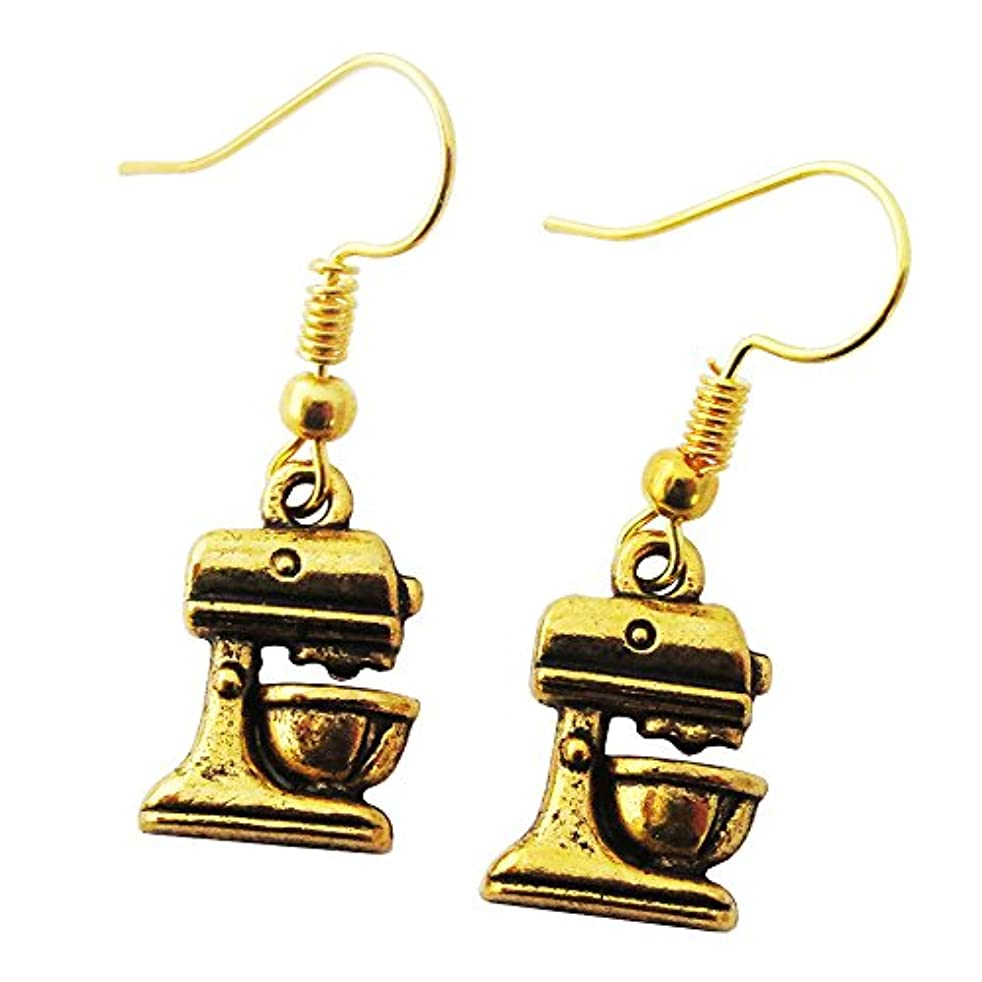Baking Mixer Gold Dangle Earrings