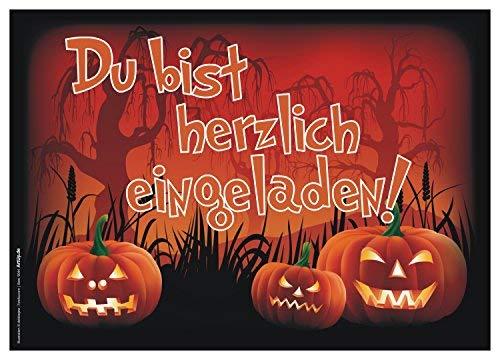 ArtUp.de 12 Halloween Einladungskarten im Set mit passenden Umschlägen - die gruselig lustigen Einladungen zur Halloweenparty