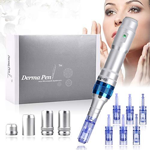 Elektrischer Derma Pen, TopDirect Dermaroller Micronadeln Pen Microneedling Pen 0,25-2,5mm für die Hautpflege, Falten, Akne-Narben, Dehnungsstreifen, Haarausfall mit 12PIN, 36PIN, Nano Round Nadeln