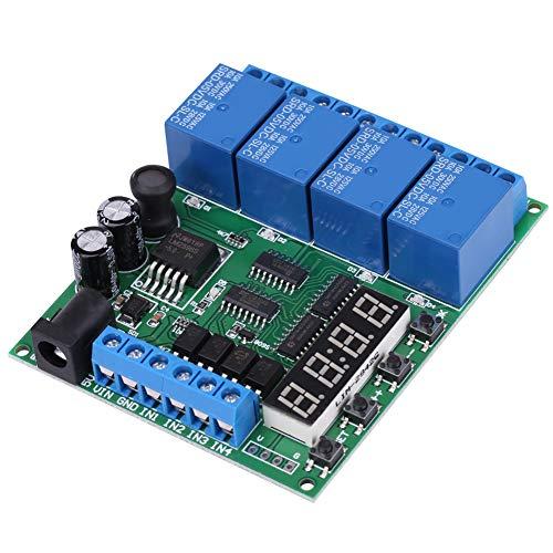 Módulo de retardo multifunción de 4 canales, temporizador Módulo de interruptor de relé Temporizador Placa de relé Temporizador ajustable Relé de temporizador Interruptor de encendido/apagado, para