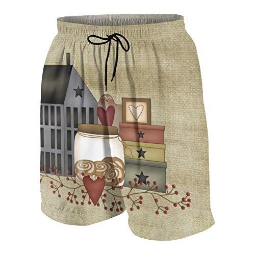 Meiya-Design Primitive Country - Traje de baño para hombre, con estampado de caprichos, surf, playa, pantalones cortos de secado rápido con bolsillos