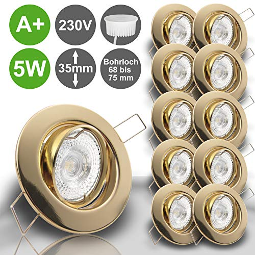 LIMITIERTE AKTION Decken Einbaustrahler DECORA extra flach 35 mm 230V 10er Set inkl. LED 5,0W = 50W Warmweiss 400 Lumen schwenkbar GOLD MESSING Einbauspot Spot Leuchtmittel austauschbar