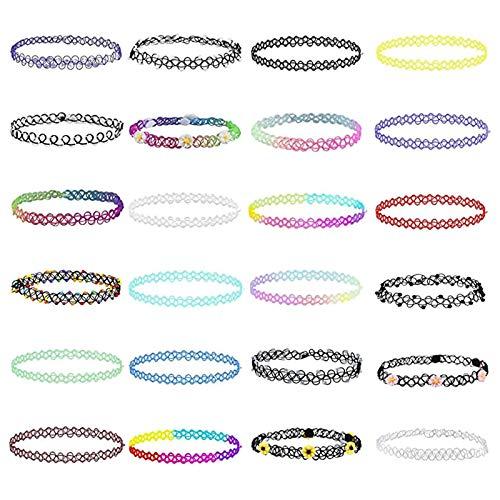 RosewineC 24 Stück Elastische Halskette,Stretch Tattoo Choker Kette Rainbow Armband Vintage Gummi Tattoo Halskette Henna Halsband für Mädchen Frauen Teen Mädchen Kinder