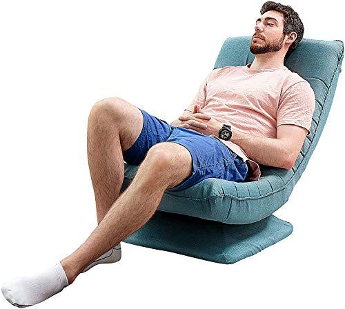 Silla Plegable de Suelo sillas Gaming,360°Giratorio butacas de Salon 3 Posiciones Respaldo Ajustable Sillon Piso Portátil Funda de sofá de Lino extraíble y Lavable Adecuada para Hogar u Oficina-Azul
