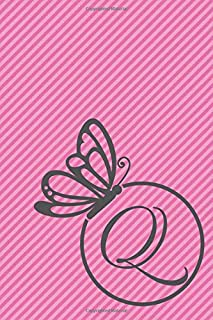 Q: Initial Q Monogram Notebook Journal Gift Circular Butterfly design (Butterfly Circle Monogram Journals)