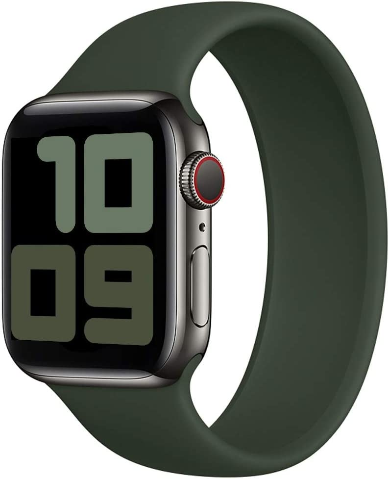 Strawberry Apple Pie - Solo Loop Band Compatible with Apple Watch Bands Replacement Sport Strap Silicone Wristband Men Women for Iwatch Series 6/SE/5/4/3/2/1 40mm 38mm Cyprus Green 38mm 40mm Size 7