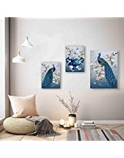 SAF Set of 3 Beautiful Peacock Flower UV Coated Home Decorative Gift Item Framed Painting 30 inch X 18 inch