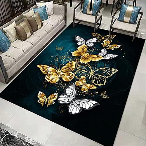 WCCCW Golden Plata Mariposa patrón 3D impresión y teñido Sala de Estar sofá Oficina Mesa Estudio Sala decoración alfombra-60x90cm para Comedor, Dormitorio, Pasillo y Habitación Juvenil