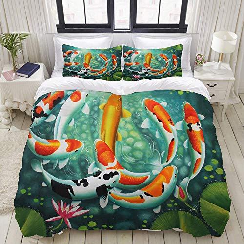 Funda nórdica, pez koi pequeño de Japón, Juego de Cama Juego de Funda de edredón de poliéster de Lujo Ultra cómodo y Ligero