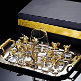 Decantador Whisky decanter vino decantador doce signo zodiaco whisky decanter y vaso conjunto de regalo gafas con cabeza animal creative glass chino retro sake vodka tazas dispensador licor de vidrio