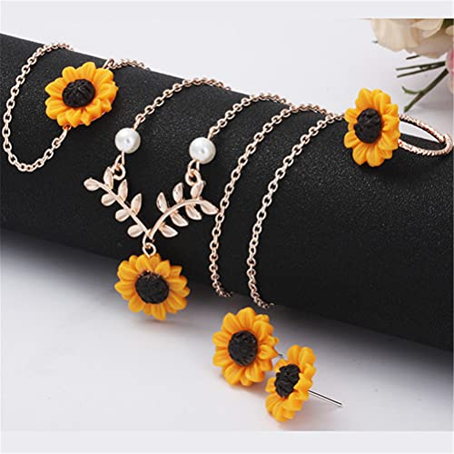 LILOVE 4 PCS Women's Pendant Necklace Earrings Ring Bracelet, Sunflower Leaf Branch Charm Pendant Long Necklace, Yellow Gold Plated Sunflower Necklace for Girlfriend And Mother (Rose Gold)