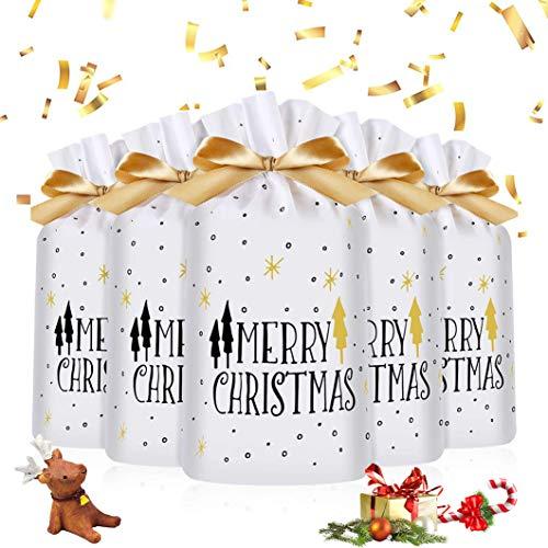 50 Stücke Weihnachten Geschenkbeutel,Geschenkverpackung Taschen,Süßigkeiten Taschen,Weihnachten Süßigkeiten Tüten,Geschenktüten Weihnachten mit Band&mit Kordelzug,Xmas Party Süßigkeiten Packung (C)