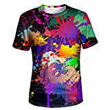 Asylvain Unisex Black 3D Colorful Paint Splatter T-Shirts with Short Sleeve for Young Men and Women, X-Large